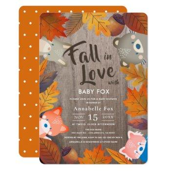 Fall In Love Woodland Animals Wood Baby Shower Invitation