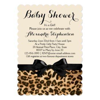 Fancy Leopard Black Bow Girl Baby Shower Invitation