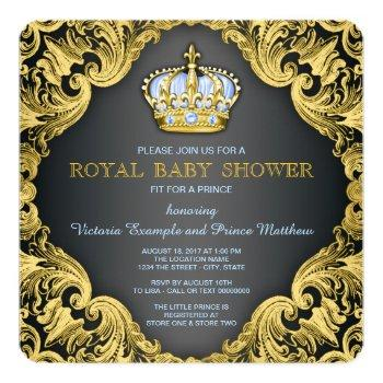 Fancy Prince Baby Shower Baby Blue Invitation