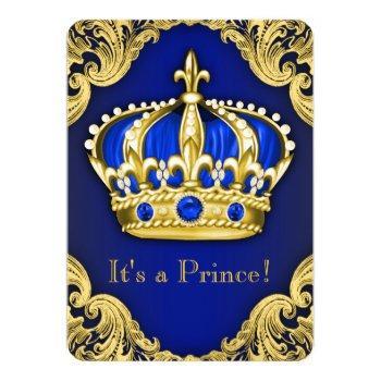 Fancy Prince Baby Shower Blue Invitation