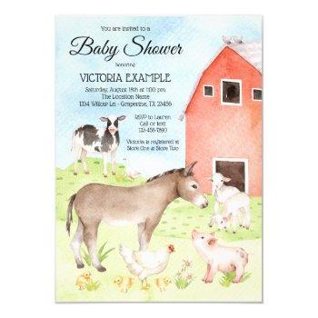Farm Animal Baby Shower Invitations