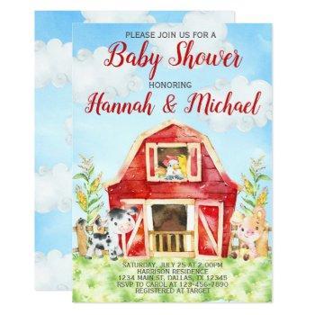 Farm Animals Baby Shower Invitation Invite, Barn