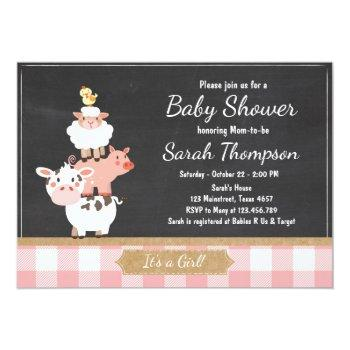 Farm Baby Shower Invitation Country Baby Girl Pink