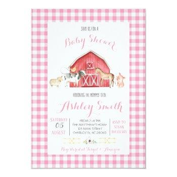 Farm Baby Shower Invitation Pink Girl