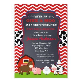 Farm Barnyard Baby Shower Invitations