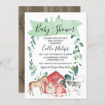 Farm Themed Wreath Baby Shower Invitation