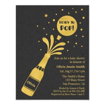 Faux Gold Champagne Ready To Pop Baby Shower Invitation