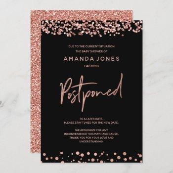 Faux Rose Gold Postponed Baby Shower Announcement