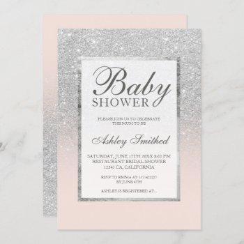 Faux Silver Glitter Blush Elegant Baby Shower