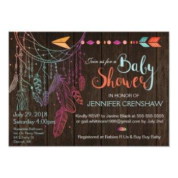 Feather Dream Catcher Baby Shower Invitation