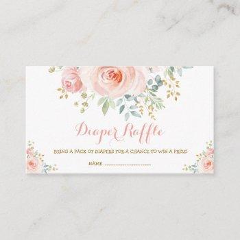 Feminine Boho Blush Floral Pink Roses Baby Shower Enclosure Card