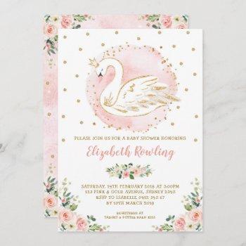 Feminine Swan Princess Pink Gold Baby Shower