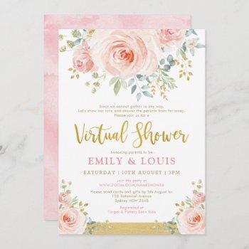 Feminine Virtual Baby Shower Blush Pink Gold Roses Invitation