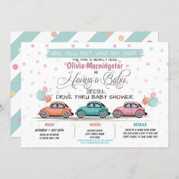 Festive Drive By Baby Shower Parade Invitation