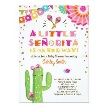 Fiesta Baby Shower Invitation Floral Senorita Girl