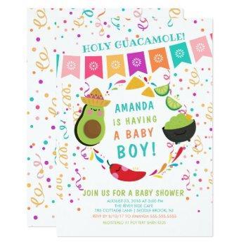 Fiesta Holy Guacamole Baby Shower Invitation