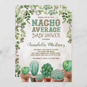Fiesta Nacho Average Baby Shower Cactus Invite