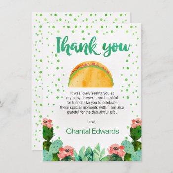 Fiesta Taco 'bout A Baby Thank You Card