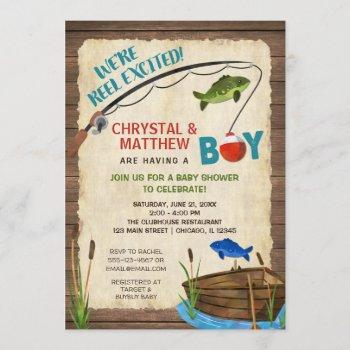 Fishing Baby Shower, Boy Rustic Reel Excited