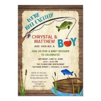 Fishing Baby Shower, Boy Rustic Reel Excited Invitation