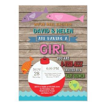 Fishing Baby Shower Invitation Girl Fish