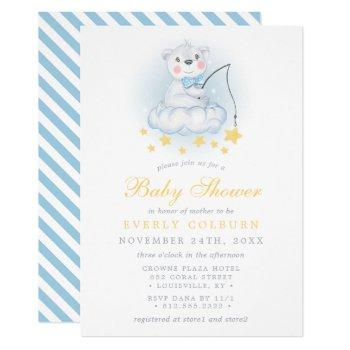 Fishing Bear On Clouds Watercolor Boy Baby Shower Invitation