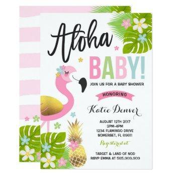 Flamingo Baby Shower Invitation Tropical Shower