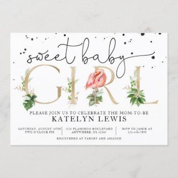 Flamingo Baby Shower Invitation With Palm Leaves