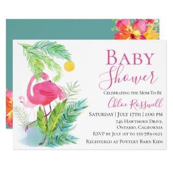 Flamingo Floral Baby Shower Invitation