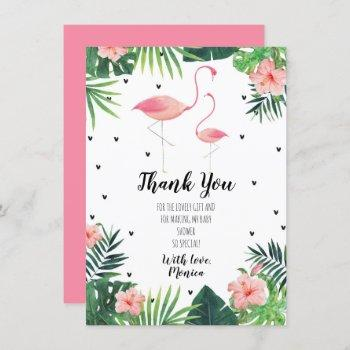 Flamingo Themed Baby Shower Thank You Card