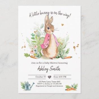 Flopsy Bunny Baby Shower Invite Girl Pink Spring