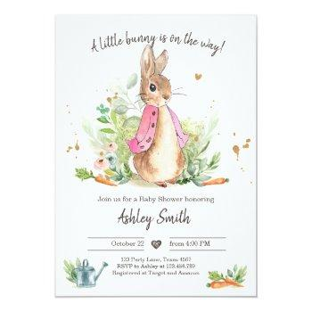 Flopsy Bunny Baby Shower Invite Girl Pink Spring