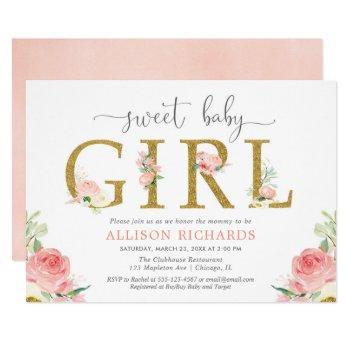 Floral Baby Shower, Elegant Blush Pink Gold Girl Invitation