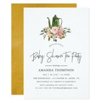 Floral Blush And Gold Baby Shower Tea Party Invitation