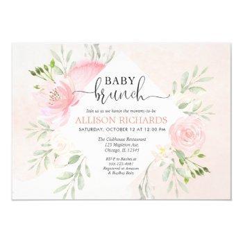 Floral Blush Pink Greenery Girl Baby Brunch Shower Invitation