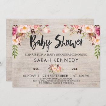 Floral Boho Rustic Baby Shower Invitation