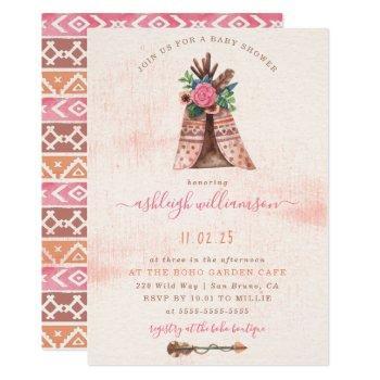 Floral Boho Teepee & Tribal Arrow Baby Girl Shower Invitation