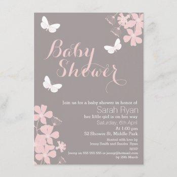 Floral Butterflies Girls Baby Shower Invitation