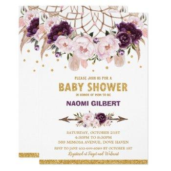 Floral Dream Catcher Baby Shower Girl Purple Blush Invitation