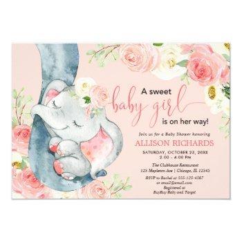Floral Elephant Sweet Baby Girl Blush Pink Cream Invitation