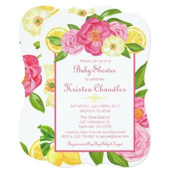 Floral Garden Lemon Girl Baby Shower Invitation