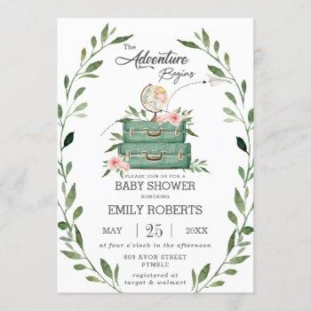 Floral Greenery Adventure Baby Shower Travel