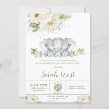 Floral Greenery Elephant Twin Girls Baby Shower  Invitation