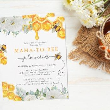 Floral Honeycomb Bumble Bee Baby Shower Invitation
