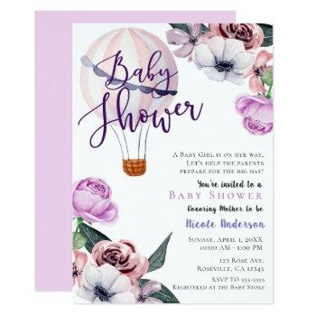 Floral Hot Air Balloon Baby Shower Lavender Purple Invitation
