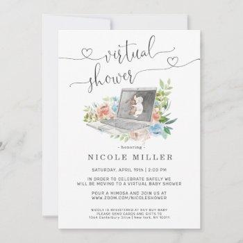 Floral Laptop   Virtual Baby Shower Invitation