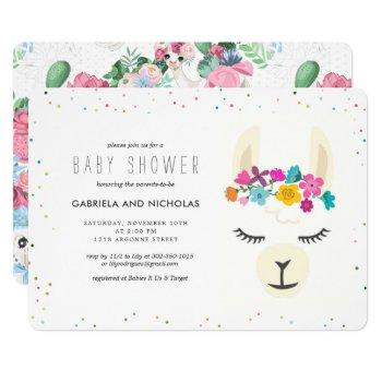 Floral Llama Baby Shower Invitation