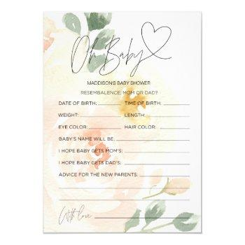 Floral Oh Baby Baby Shower Prediction Wish Cards