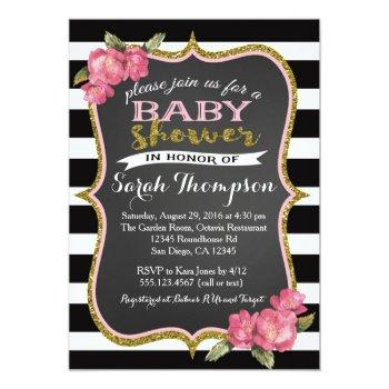 Floral Pink Black And White Baby Shower Invitation