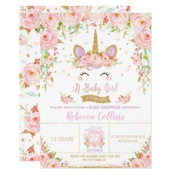 Floral Pink Unicorn Baby Shower Invitation Girl